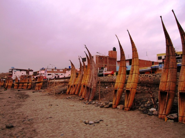 Caballitos de Totora Along the Beach at Dusk