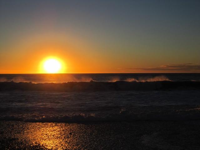 The Sun setting in Hokitika