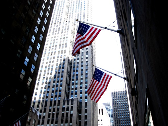 USA Flags Fly Proudly at Rockefeller Plaza - January 2011