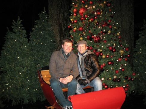 Me and Ryan Aboard the Christmas Sleigh at Capilano Suspension Bridge, Vancouver Canada (Canyon Lights 2012)