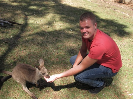 Feeding a Little Guy in the Kangaroo / Wallaby Enclosure