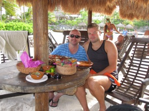 Lunch on the Beach at Xcaret with my Friend Nic