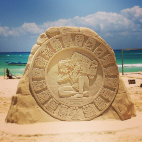 Mayan Calendar Sculpted out of Sand