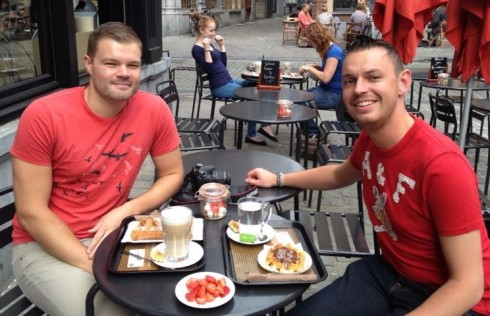 Enjoying Different Waffle Styles with Timothy in Antwerp, Belgium