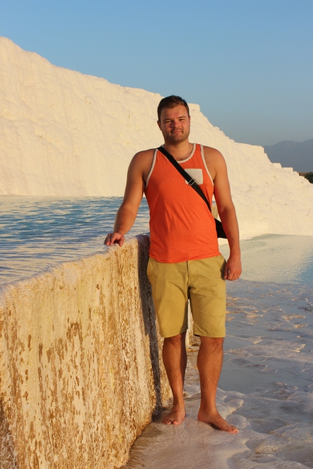 Resting my tired feet in one of the hot spring terraces in Pamukkale, Turkey (September 2013)