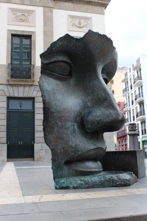 Woman's Face Sculpture in Santa Cruz de Tenerife, Canary Islands, Spain.