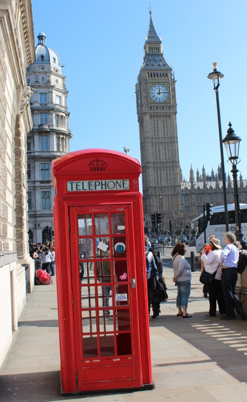 Big Ben and an Iconic Telephone Booth in the Sun