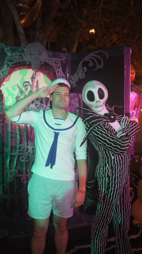 Claus and Jack Skellington in Dinseyland, California (October 2012)