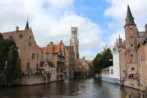Bruges Canal with Belfrey Tower in Distance