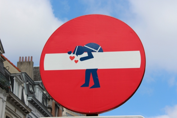 Brussels No Entry Street Sign, with a Little Love