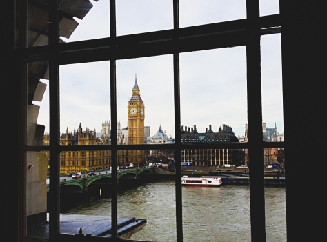 Big Ben & Parliament House from Marriott Hotel County Hall, January 2015