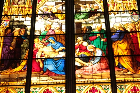 Stained Glass Window Depicting Crucifixion in Cologne Cathedral
