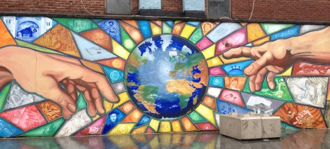 Colourful Mural of the Earth in Belfast, Northern Ireland.