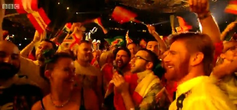 My Four Seconds of Fame on this Still from the BBC Broadcast of Eurovision 2015!