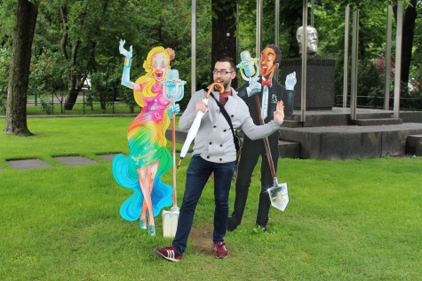 Eamonn 'Building Bridges' with the Parks Board Eurovision Carboard Cutouts