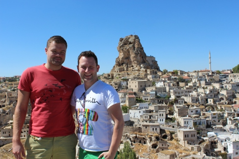 Me and Ryan with Uçhisar Town and its Castle in the Distance