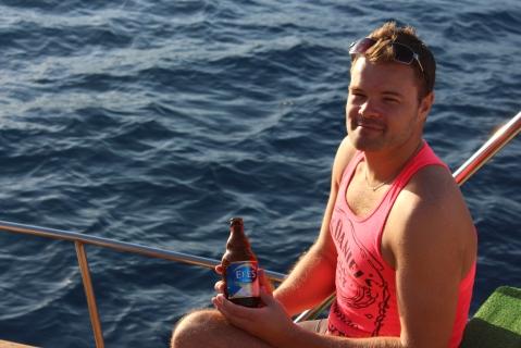 Me, Enjoying a Cold Efes Beer in Between Swims in the Mediterranean Sea