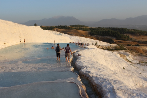 Walking Down the White Terraces of Pamukkale