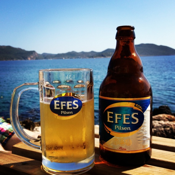 A Cold Efes Beer in Kaş, Turkey