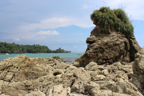 Rock formation resembling a dude, in Manuel Antonio National Park