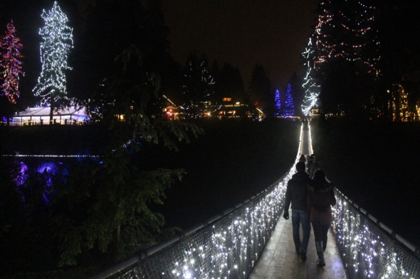 Couple Walking Across the Bridge During Canyon Lights