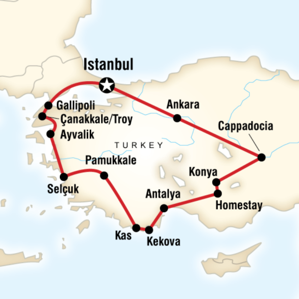 Absolute Turkey Map ©G Adventures