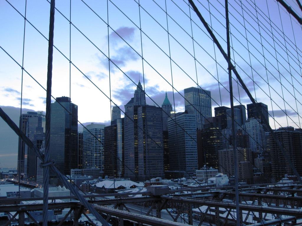 Manhattan skyline seen from Brooklyn Bridge, January 2011