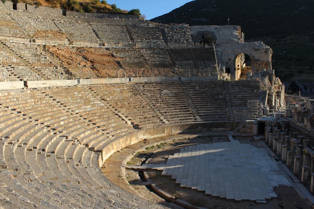 Sunset light on the massive amphitheatre / gladiator arena of Ephesus