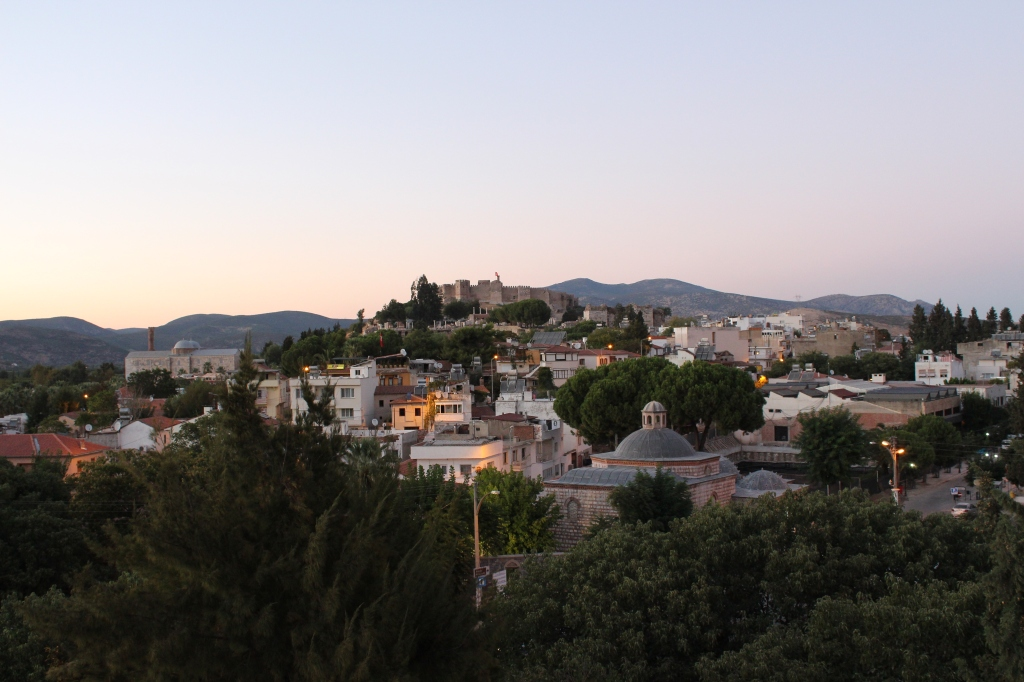The View of Selçuk Castle Over the Town at Dusk, From Our Hotel's Rooftop