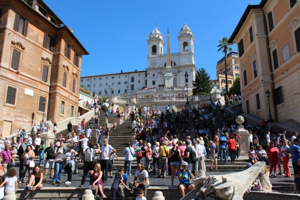 Busy day at the Spanish Steps