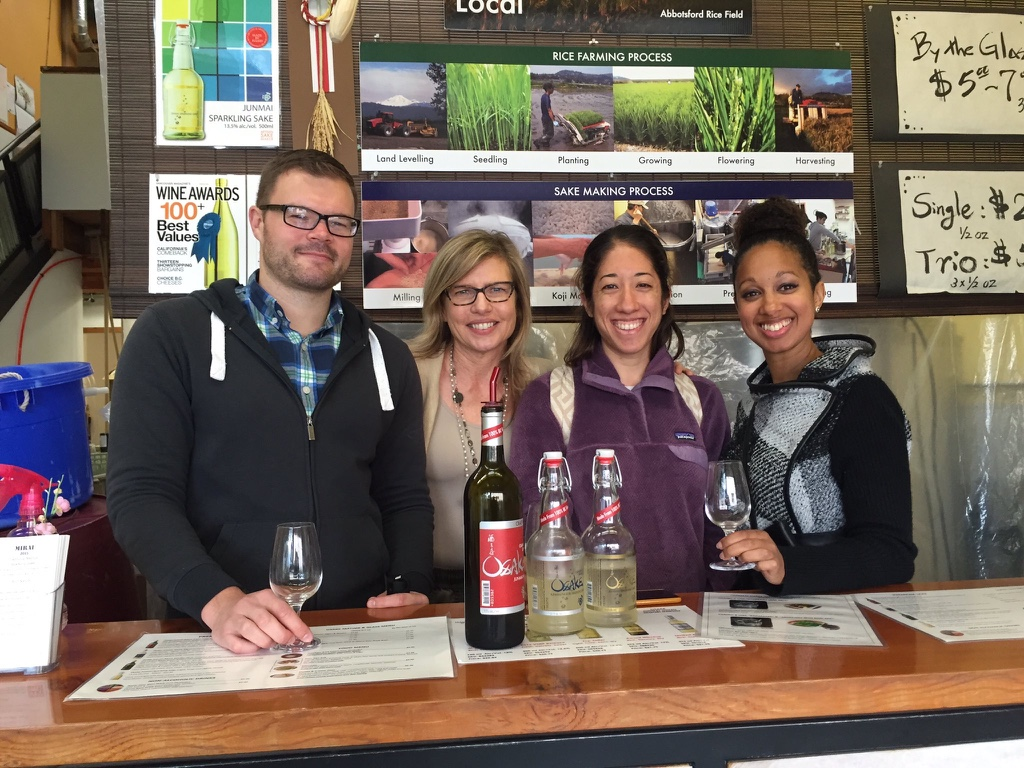 Sake-tasting with our docent Heather and two travel bloggers: Kimi ( Sushiyama Travels) & Jordan (Urban Xenophile)